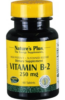 Vitamin B2 250 mg S/R von Natures Plus, Riboflavin, 60 Tabs