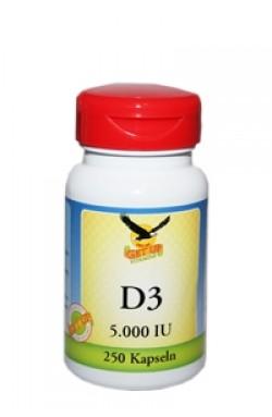 Vitamin D3 (Cholecalciferol) 5.000 IE, natürlich, 250 Kaps
