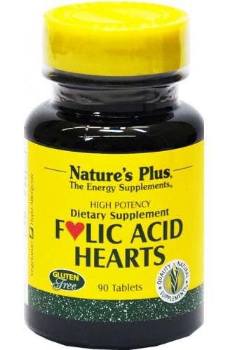 Folsäure Folic Acid Hearts von Natures Plus, Vitamin-B-Komplex, 90 Tabl.
