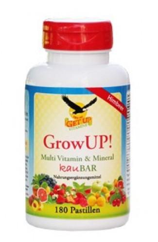 Kindervitamine & Mineral Kaupastillen GrowUP! Himbeer Tropical mit Xylit, 180 Stk