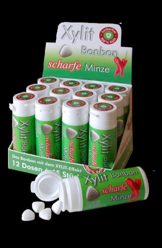 Xylit Bonbon Scharfe Minze - 100% Birkenzucker, 45 Stk Dose