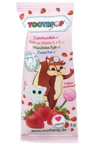 Birkenzucker Lolli Toothpop Erdbeer - Dauerlutscher mit Vitaminen C & D